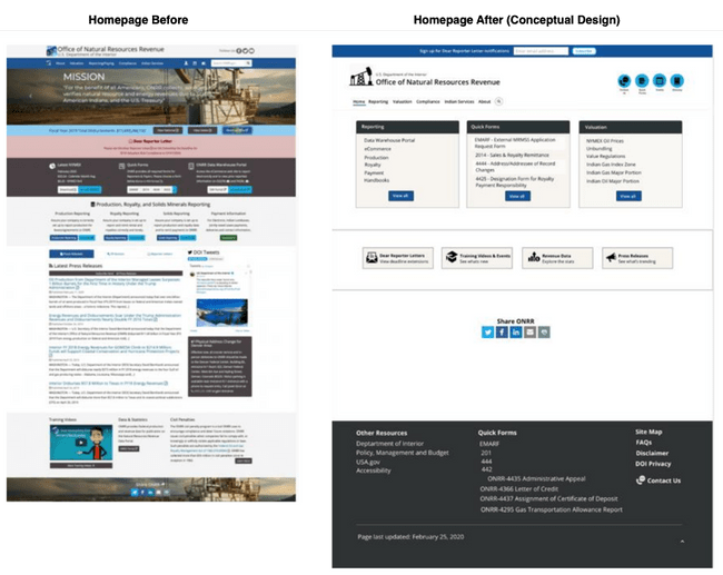 Homepage before and after concepting.